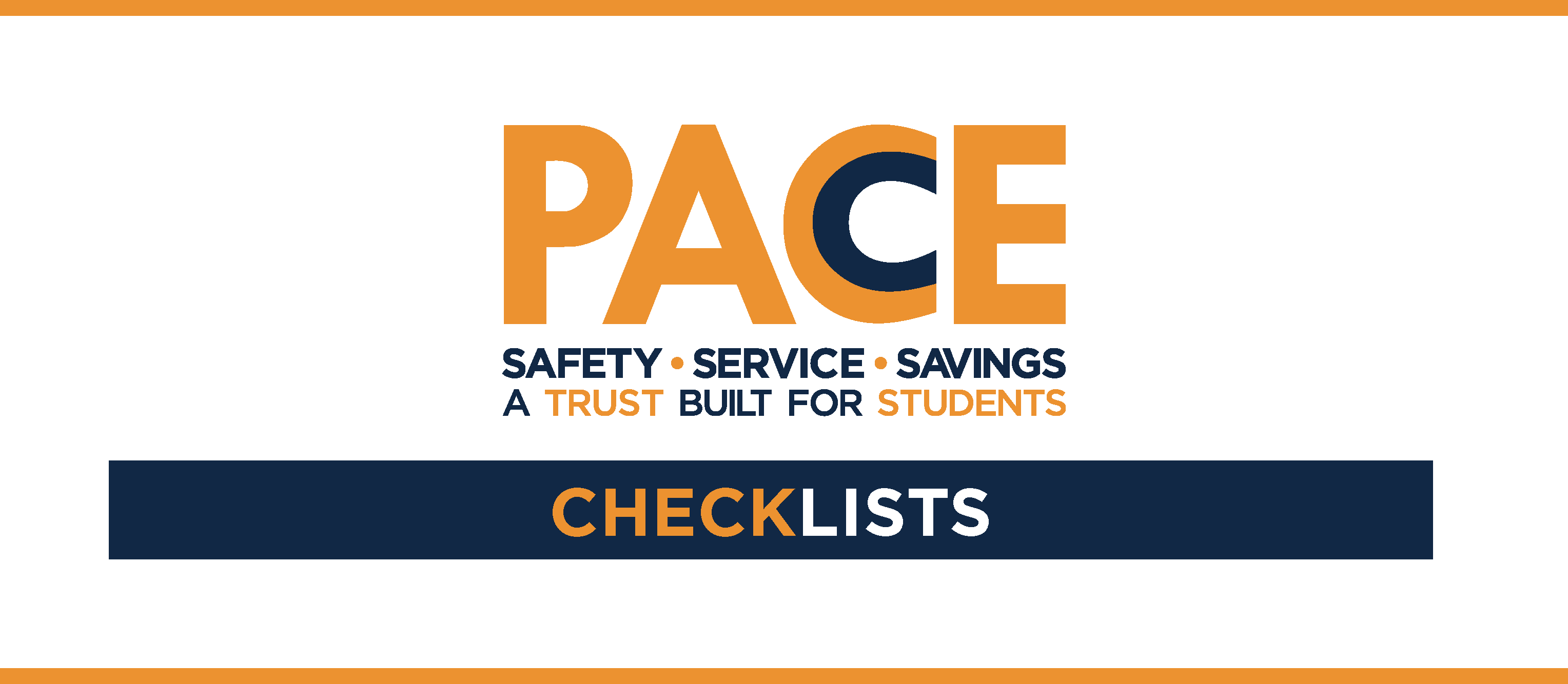 "words for PACE's brand, and the words ""checklists"" in a blue bar"