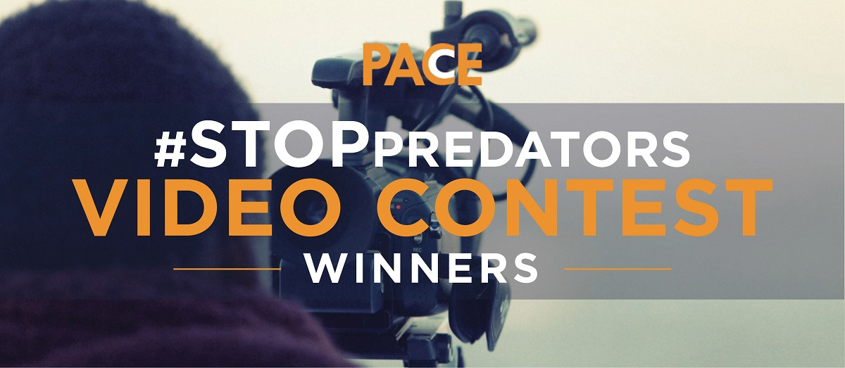 "photo of the back of someone's head behind a video camera, with the words ""PACE #STOP Predators Video Contest Winners"""